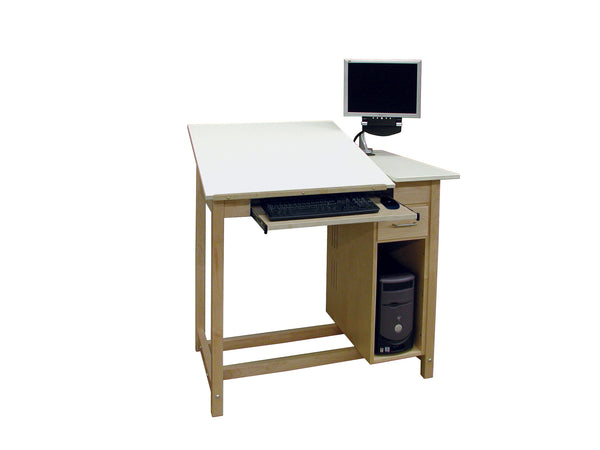 Hann CDWD-65 CAD Drafting Table with Drawer and CPU Storage Cabinet