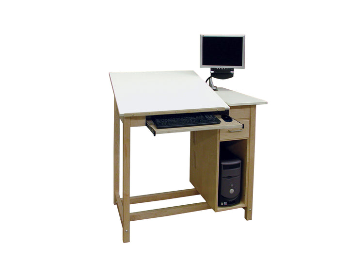 Hann CAD Drafting/Drawing Table, w/ Drawer & CPU Storage Cabinet