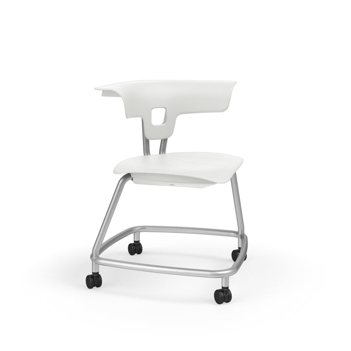 "KI RKV100H18NB Ruckus Plastic Stack Chair with Casters without Book Rack 18"" Seat Height"