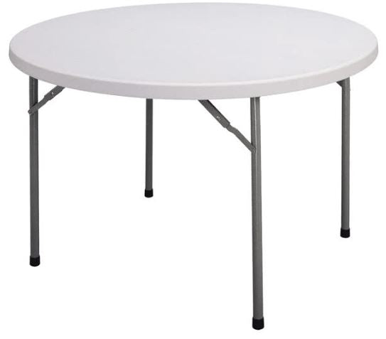 "Correll CP48-33 Light Duty Fixed Height Blow-Molded Folding Table 48"" Round"