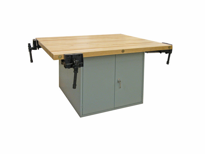 Hann DD4-4V Four Station Workbench with Double Door Steel Base and 4 Vises