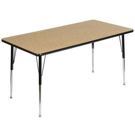 Scholar Craft FS849RE3072 Adjustable Height Melamine Rectangle Activity  Table 30 X 72   Quick Ship