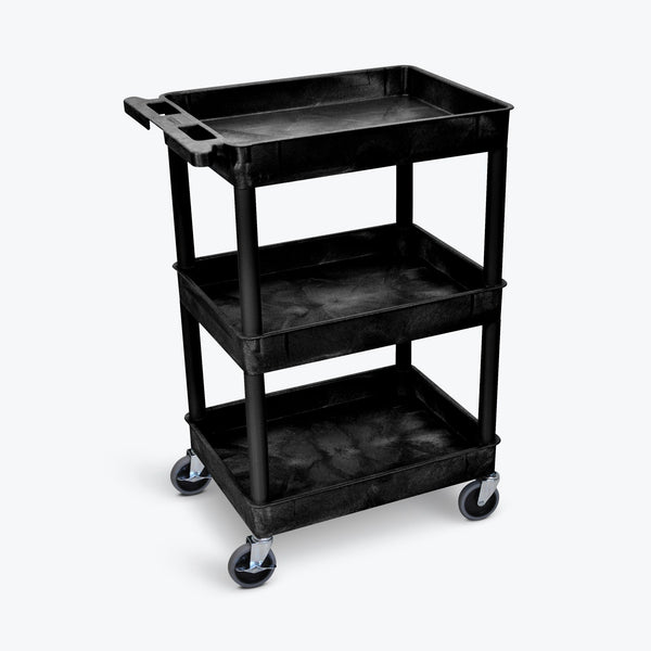 Luxor STC111-B Three Shelf Utility Cart 24 x 18