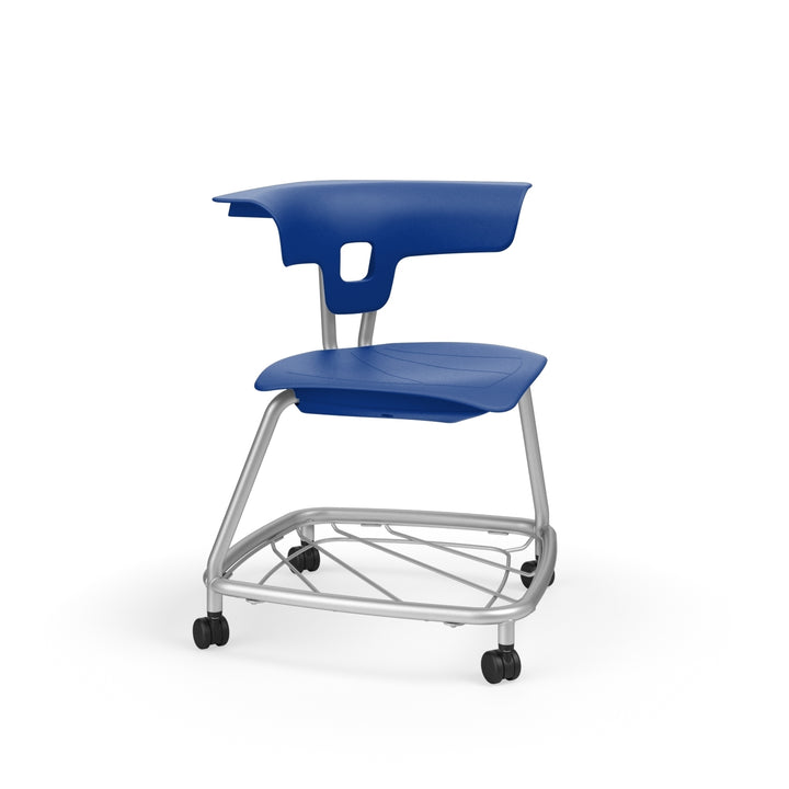 "KI RKV100H15BR Ruckus Plastic Stack Chair with Casters and Book Rack 15"" Seat Height"