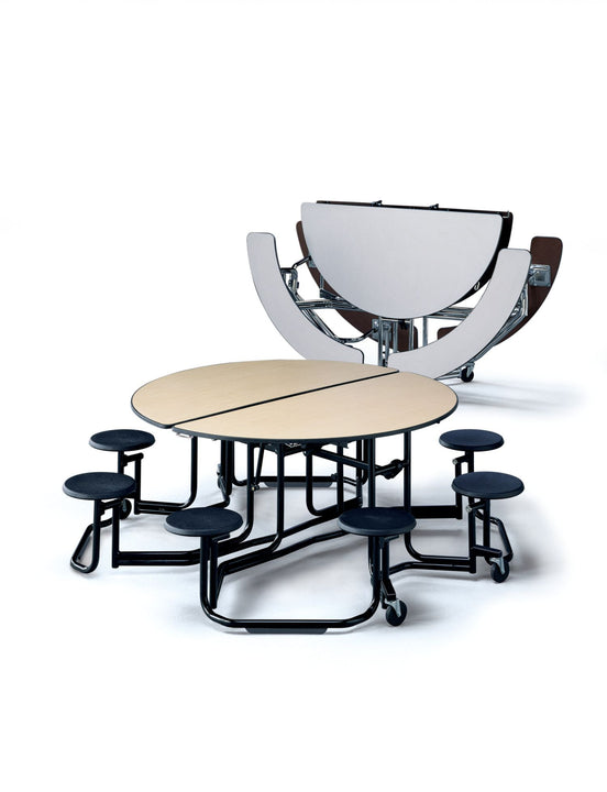 "KI UFRD5SB Uniframe Round Folding Cafeteria Table with Split Bench Seats 7'D x 27""H"