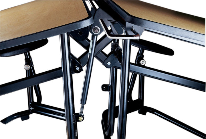 "KI UF128/PY Uniframe Rectangle Folding Cafeteria Table with 16 Stools and Chrome Frame 12'L x 27""H"