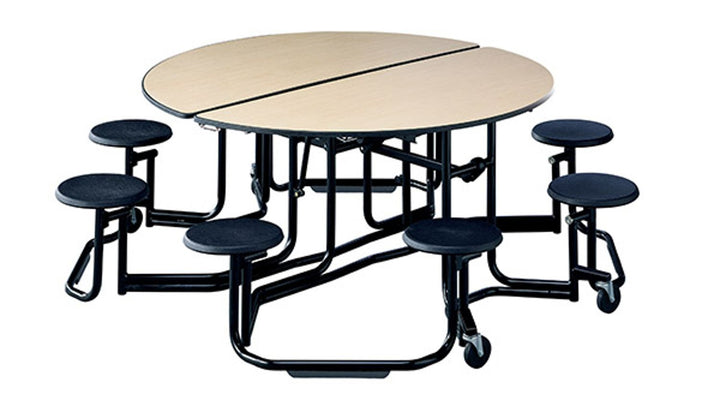 "KI UFRD58/PY Uniframe Round Folding Cafeteria Table with 8 Stools and Black Frame 60""D x 27""H"