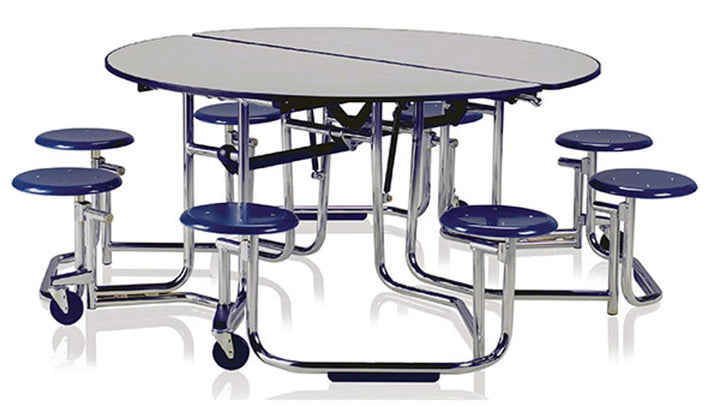 "KI UFRD58/PY Uniframe Round Folding Cafeteria Table with 8 Stools and Chrome Frame 60""D x 29""H"