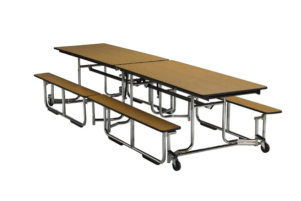 "KI UF08BE Uniframe Rectangle Folding Cafeteria Table with Bench Seats 8'L x 27""H"