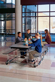 "KI UF12SB Uniframe Rectangle Folding Cafeteria Table with Split Bench Seats 12'L x 29""H"