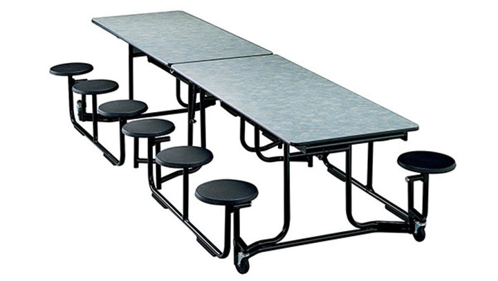 "KI UF128/PY Uniframe Rectangle Folding Cafeteria Table with 16 Stools and Black Frame 12'L x 27""H"