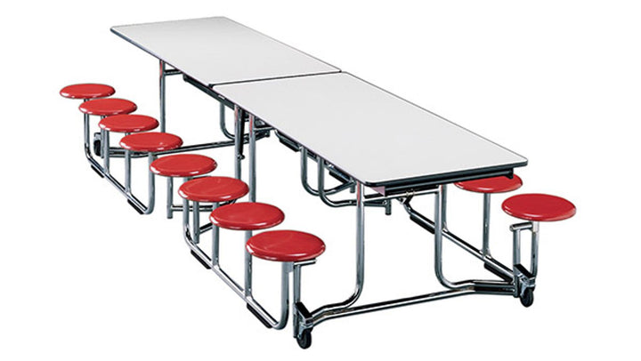 "KI UF128/PY Uniframe Rectangle Folding Cafeteria Table with 16 Stools and Chrome Frame 12'L x 29""H"