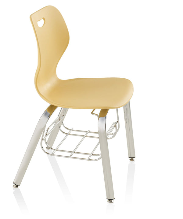 "KI IW418BR Intellect Wave 4 Leg Chair with Book Rack 18"" Seat Height - Free Shipping"
