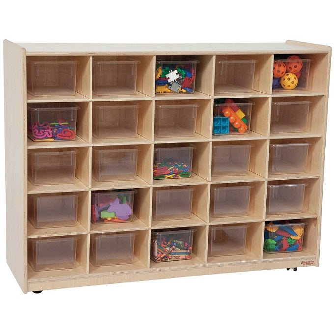 Wood Designs WD16001 Mobile Cubby Storage - 25 Clear Trays