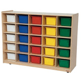 Wood Designs WD16003 Mobile Cubby Storage - 25 Colored Trays