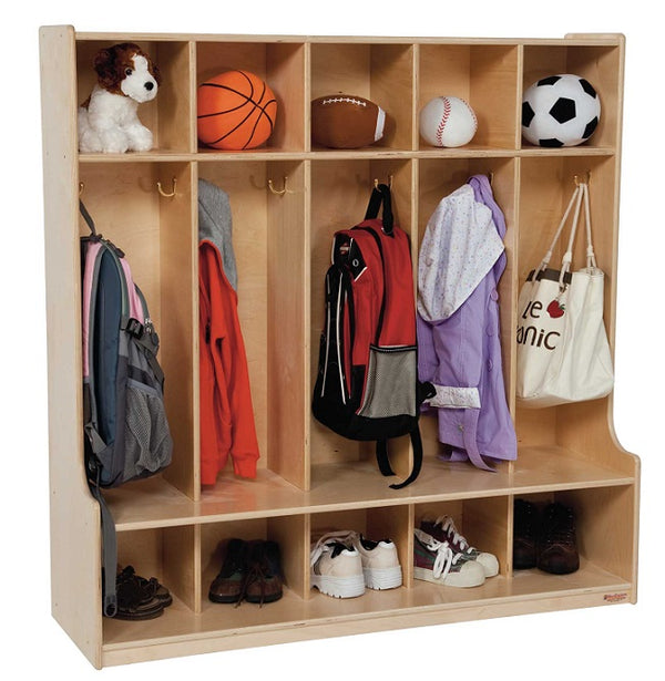 Wood Designs WD51000 Five Section Locker with Seat