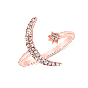 Moon and star rose gold ring 14k