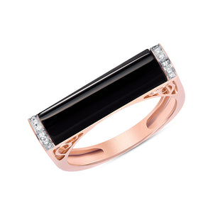Onyx and diamond bar ring 14k