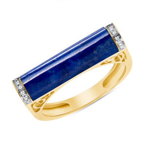 Lapis and diamond bar ring 14k