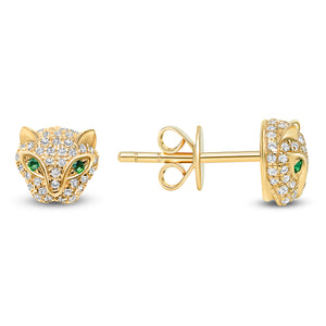 Cougar diamond earrings 14k