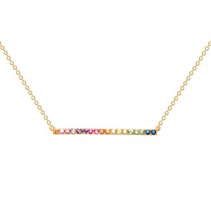 Multicolored bar Necklace 14k