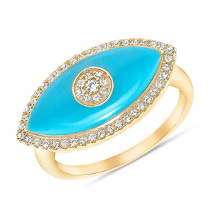 Turquoise and diamonds evil eye ring 14k