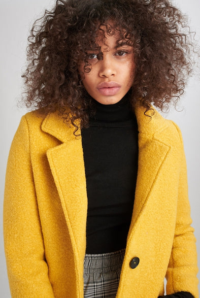 24colours - manteau - 90240 - jaune ou noir - long - doux