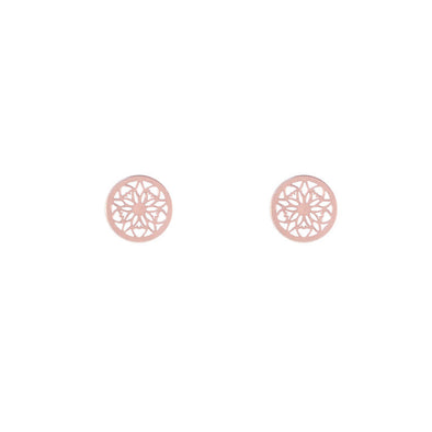 Boucles d'oreilles mandala argent earrings silver metal stud rose gold or rose