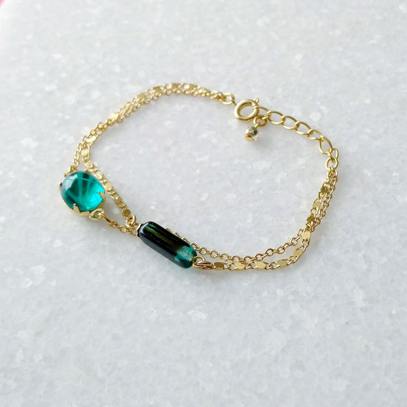 gold chain bracelet multilayers
