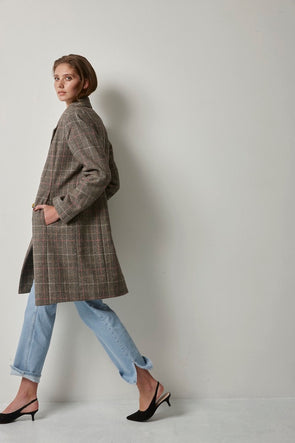 soaked in luxury- manteau- tweed- san check- 30404234
