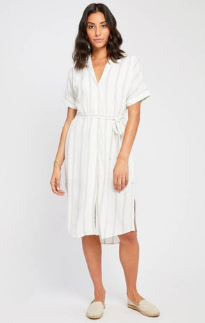gentle fawn - kaysey - robe - manches mi longues - ceinture - rayures - chemise longue