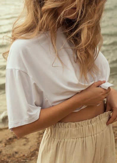 t-shirt blanc crop top