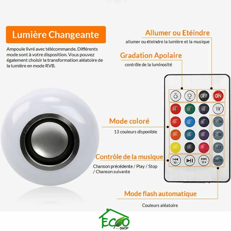 Ampoule LED & Enceinte Bluetooth