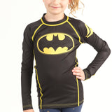 Fusion Batman 1989 Black Logo Kids BJJ Rash Guard- Long Sleeve
