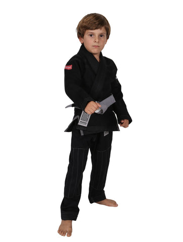 Maeda Red Label Kids Jiu Jitsu Gi Black W/ Free White Belt