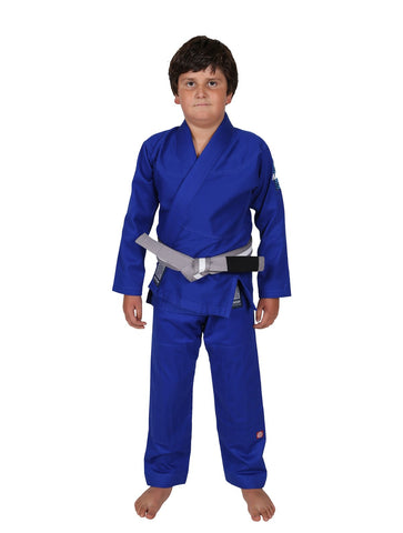 Maeda Red Label Kids Jiu Jitsu Gi Blue W/ Free White Belt