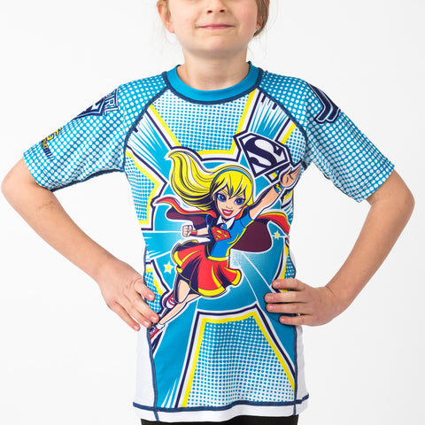 Fusion Supergirl Kids Rash Guard Short Sleeve