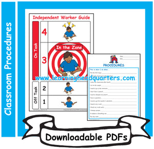 K: Classroom Procedures - Downloadable PDFs