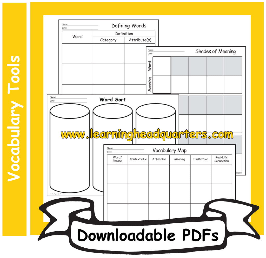 1: Vocabulary Tools - Downloadable PDFs