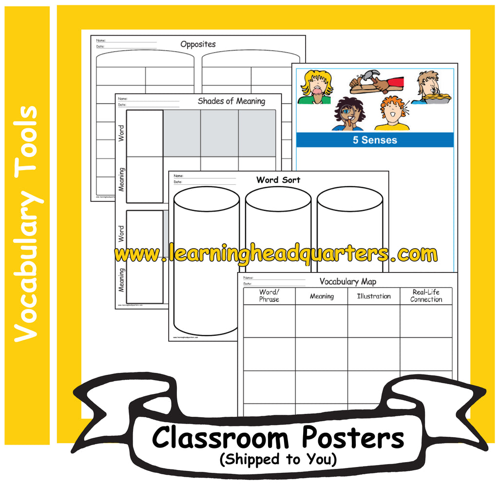 Lhq Kindergarten Vocabulary Tools Poster Set Learning Headquarters
