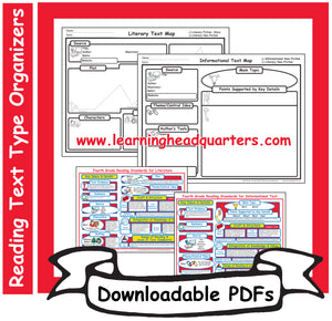 4: Reading Text Type Organizers- Downloadable PDFs