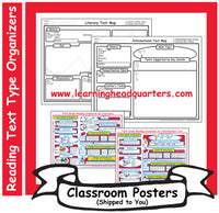 5: Reading Text Type Organizers - Poster Set