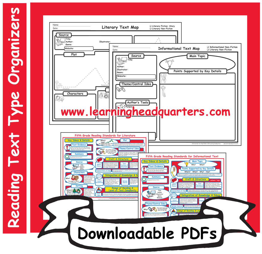 5: Reading Text Type Organizers- Downloadable PDFs