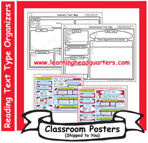 6: Reading Text Type Organizers - Poster Set