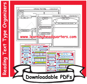 6: Reading Text Type Organizers- Downloadable PDFs