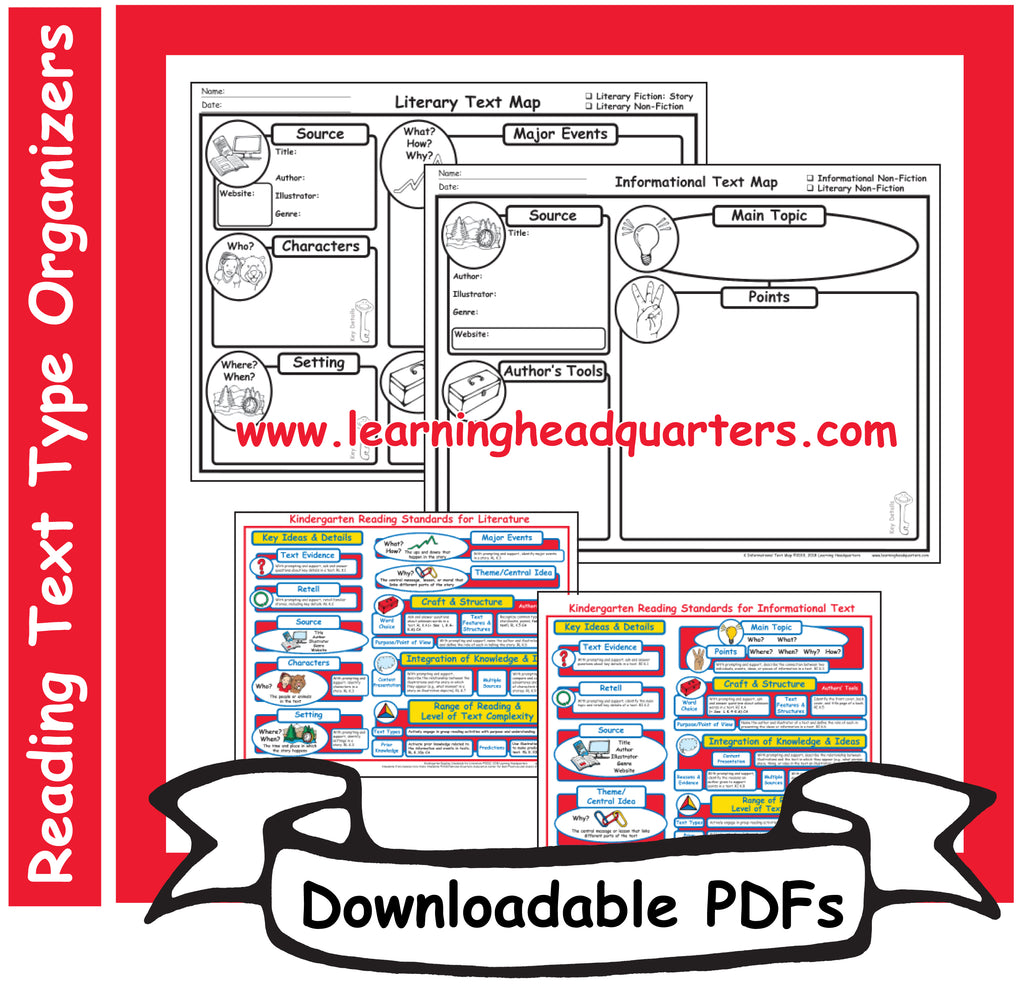 K: Reading Text Type Organizers- Downloadable PDFs