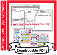 2: Reading Text Type Organizers- Downloadable PDFs