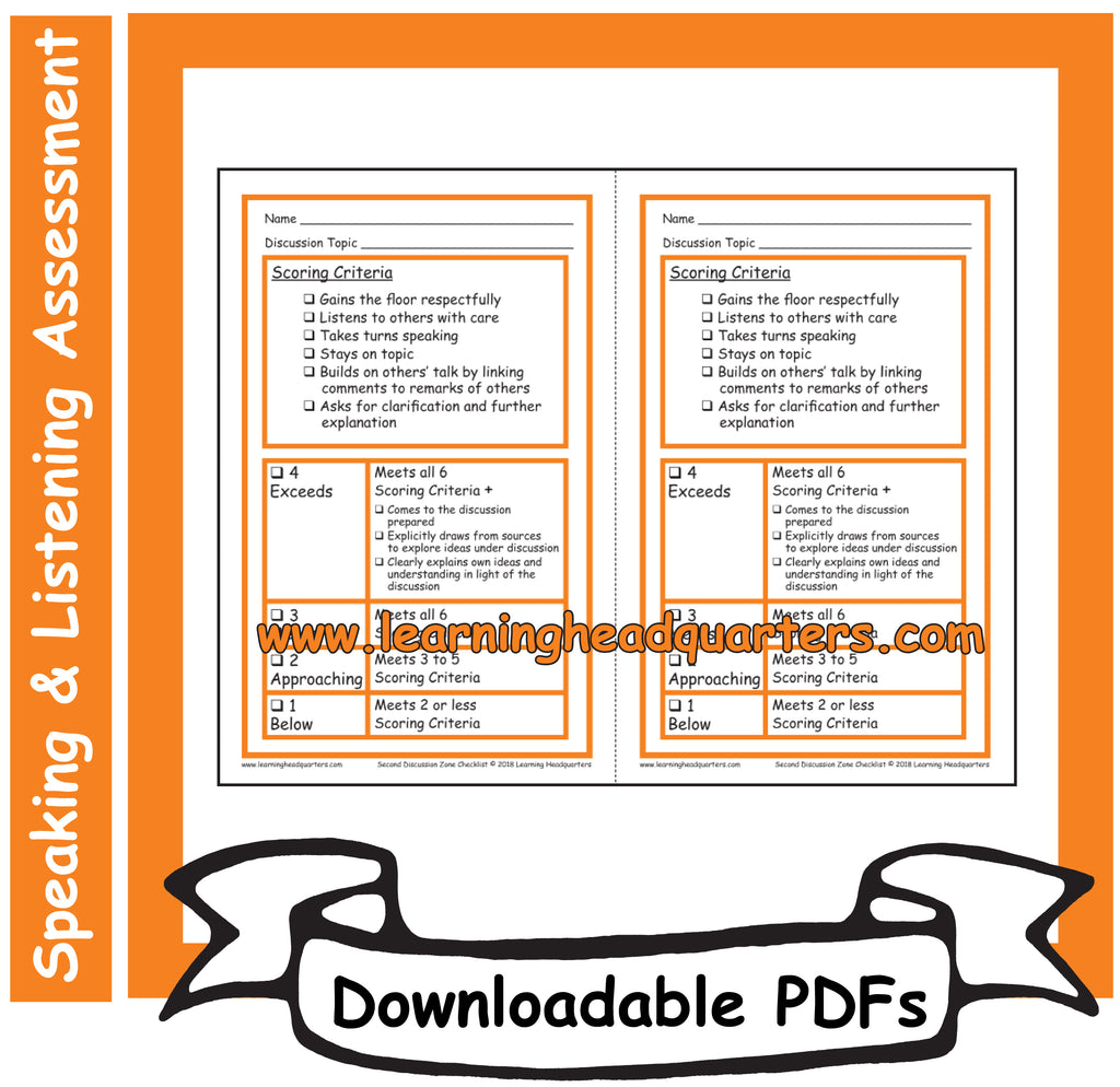 2: Discussion Zone Checklist - Downloadable PDFs