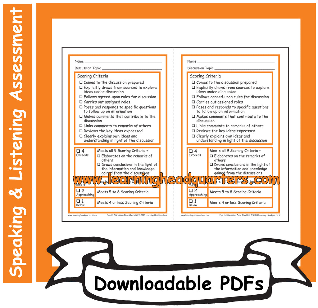 4: Discussion Zone Checklist - Downloadable PDFs