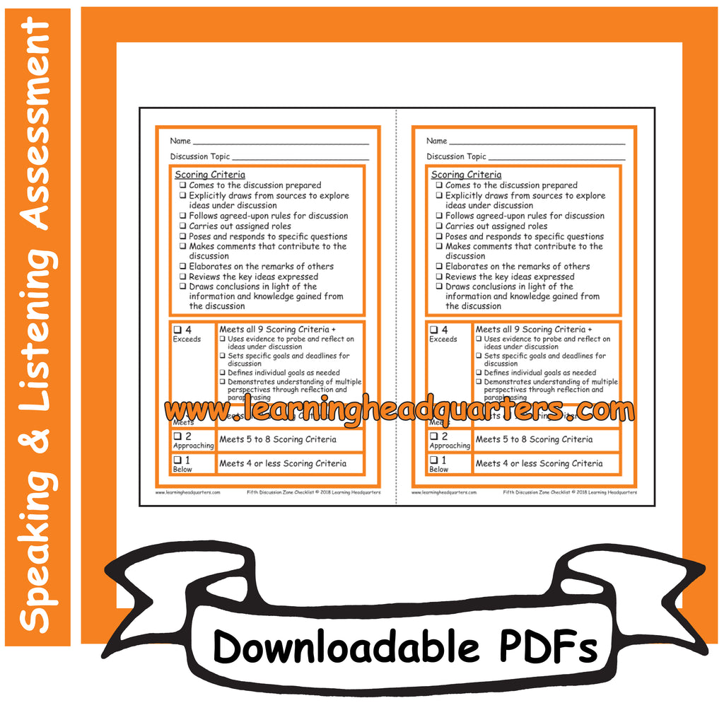 5: Discussion Zone Checklist - Downloadable PDFs